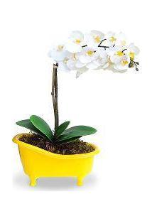 Arranjo De Flores Artificiais Orquideas Brancas Cachepot Banheira Amarela