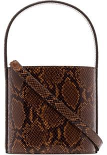 Staud Bissett Snake-Effect Leather Bucket Bag - Marrom