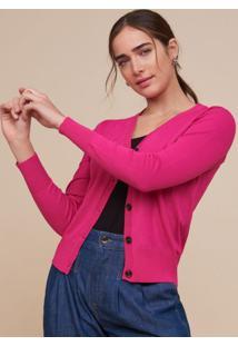 Amaro Feminino Cardigan Tricot BãSico Botã•Es, Pink