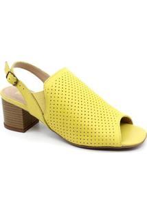 Sandália Salto Primma Scarpa 87211 - Feminino-Amarelo