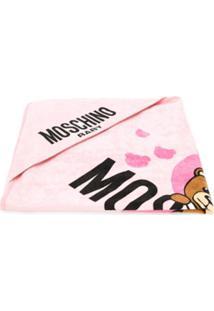 Moschino Kids Toalha De Banho Com Logo Teddy - Rosa