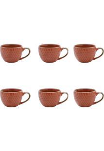 Conjunto De Xícaras Para Café Escamas Laranja 90 Ml