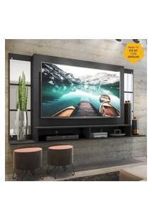 """Painel Tv 60"""" Com Espelho E Nichos Tókio Multimóveis Preto"""