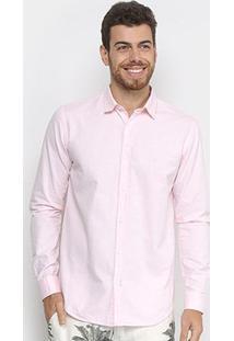 Camisa Manga Longa Foxton Oxford Masculina - Masculino-Rosa
