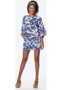 Blusa Floral- Branca & Azul- Malweemalwee