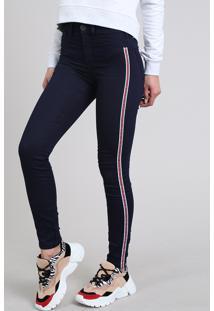 Calça Jeans Feminina Super Skinny Energy Jeans Com Faixas Laterais Azul Escuro