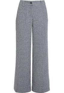 Calça Pantalona Tweed Pied De Poule
