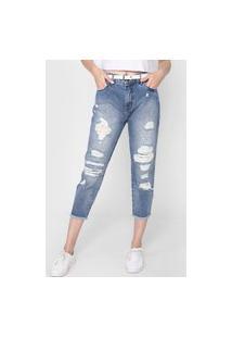 Calça Cropped Jeans Coca-Cola Jeans Slim Destroyed Azul
