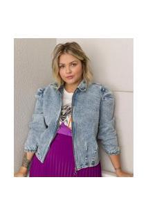 Jaqueta Jeans Com Mangas Bufantes Curve & Plus Size | Ashua Curve E Plus Size | Azul | Gg