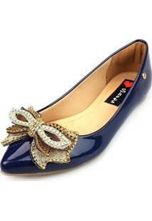 Sapatilha Love Shoes Bico Fino Pedraria E Strass Verniz Azul-Marinho