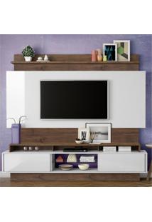 Estante Home Para Tv Até 55 Polegadas 2 Portas De Correr Tb113 Dalla Costa Off White/Nobre