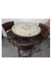 Conjunto De Mesa Em Mosaico Florido Com 3 Cadeiras