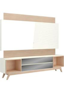 Rack Com Painel Munique Espelhado 2,20 Mt Cor Off White Com Natural - 51643 - Sun House