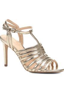 Sandália Couro Shoestock Salto Fino Tirinhas Feminina - Feminino-Dourado