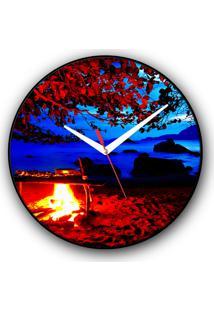 Relógio De Parede Colours Creative Photo Decor Decorativo, Criativo E Diferente - Fogueira Na Praia Em Ilhabela, Sp