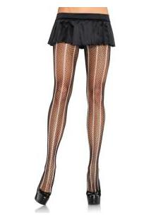 "Meia-Calça Arrastão Bicolor Leg Avenue (9925) ""Fishnet Pantyhose With Contrast Vertical Stripe"""