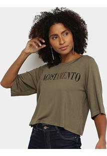 Camiseta Acostamento Ampla Logo Feminina - Feminino-Verde