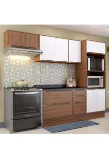 Cozinha Completa 5 Módulos 8 Portas E Rodapé Calábria Multimóveis Nogueira/Branco Texturizado