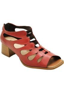 Sandália Retro Com Salto Sapatofran De Couro Confortável Feminino - Feminino-Vermelho
