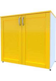 Armário De Escritório Oma 2 Pt Branco E Amarelo
