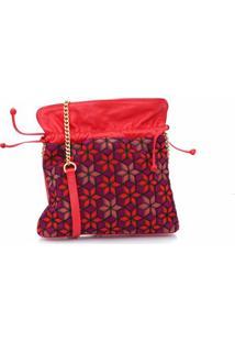 Bolsa Saco Em Couro Vermelho Com Padrões