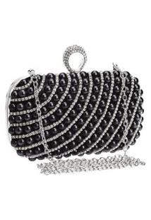Bolsa Clutch Liage Bordada Pedra Pérola Cristal Pedraria Strass Brilho Metal Prata E Preta