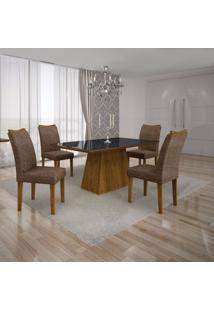 Conjunto Sala De Jantar Mesa Tampo Mdf/Vidro Preto 4 Cadeiras Pampulha Leifer Canela/Linho Marrom