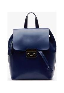 Bolsa Em Couro Lacoste Feminina - Feminino-Azul Escuro