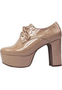 Bota Damannu Shoes Ariana Verniz Feminina - Feminino-Nude