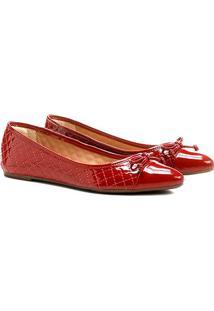 Sapatilha Shoestock Matelassê Bico Fino - Feminino-Vermelho