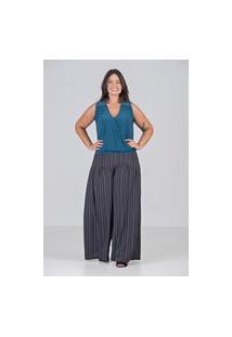 Calça Pantalona Com Pregas Fundas Talento - Plus Size Preto