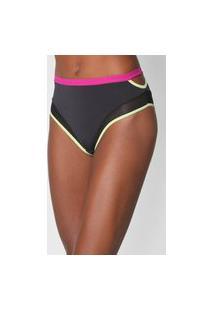 Calcinha Colcci Underwear Hot Pant Recortes Tule Preto/Rosa