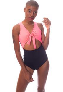 Body Bicolor Com Amarração E Recorte Na Barriga Preto E Rosa Neon