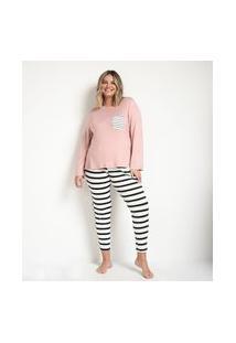 Conjunto De Pijama Viscolycra Listrado Blusa Longa E Calça Rosa