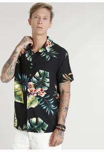 Camisa Masculina Estampada Floral Tropical Manga Curta Preta