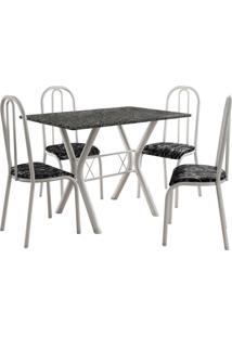 Conjunto De Mesa Miami 4 Cadeiras Branco/Preto Floral Fabone Móveis Tubulares