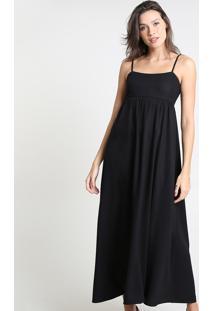 Vestido Feminino Mindset Longo Com Recorte Alça Fina Preto