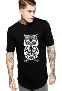 Camiseta Criativa Urbana Oversized Coruja Mexicana Ossos - Masculino-Preto