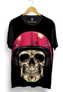 Camiseta Bsc Skull Pink Helmet Full Print - Masculino