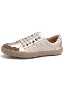 Sapatênis Doctor Shoes 1325 Bege/Dourado