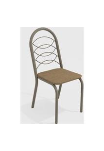 Cadeira Holanda Nickel/Cappuccino (Par) Kappesberg