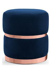 Puff Decorativo Com Cinto E Aro Rosê Round B-304 Veludo Azul Marinho -
