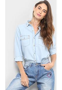 Camisa Cantão Desfiada Feminina - Feminino-Jeans Claro