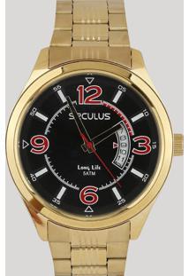 3998f851059 CEA. Relógio Analógico Seculus Masculino - 23647gpsvda3 Dourado - Único