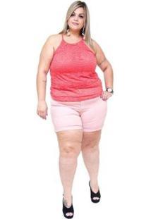 Shorts Jeans Cambos Plus Size Euda Feminino - Feminino-Rosa Claro