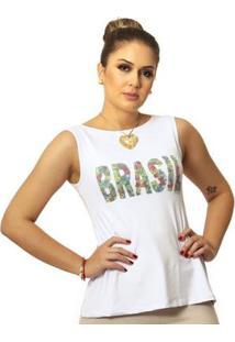 Regata Ficalinda Estampa Copa Do Mundo Brasil 10 Evasê Decote Canoa Feminina - Feminino-Branco
