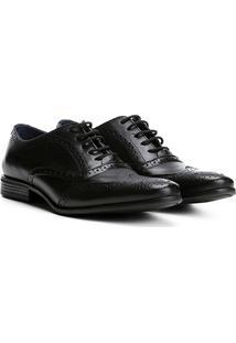 Sapato Social Couro Walkabout Brogue Vecchio Masculino - Masculino-Preto