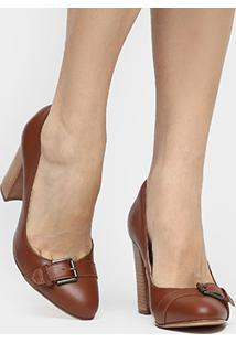a526b16eaf ... Scarpin Couro Shoestock Salto Alto Fivela - Feminino-Caramelo