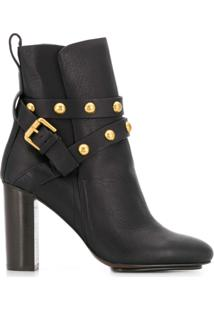 See By Chloé Ankle Boot Com Tachas - Preto