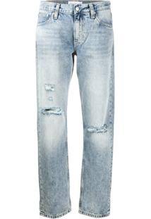Calvin Klein Jeans Mid-Rise Straight Jeans - Azul